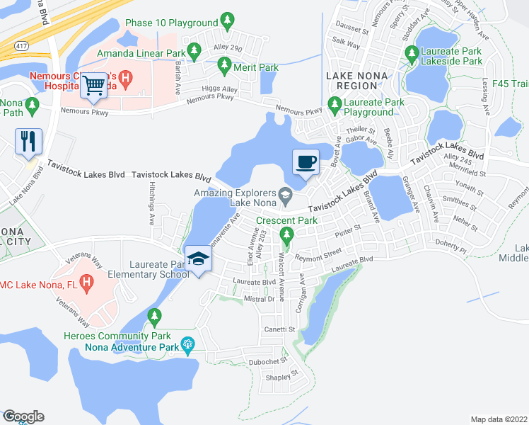 map of restaurants, bars, coffee shops, grocery stores, and more near 8206 Tavistock Lakes Boulevard in Orlando