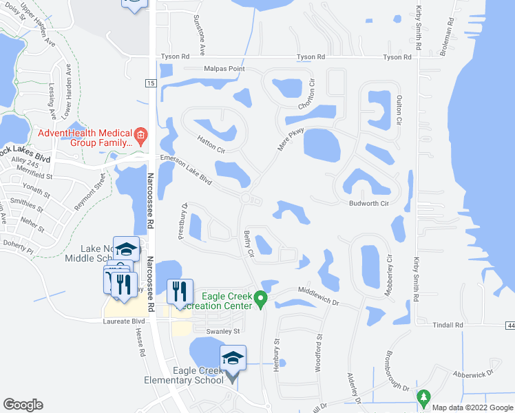 map of restaurants, bars, coffee shops, grocery stores, and more near 10407 Belfry Circle in Orlando