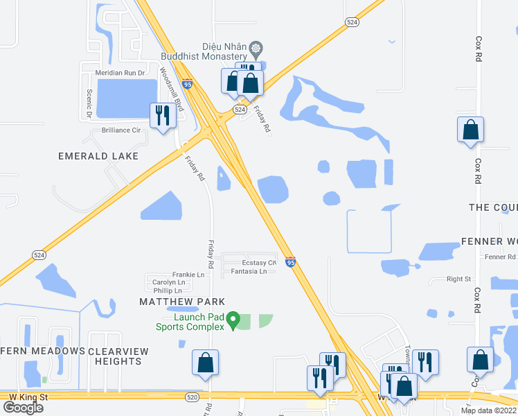 map of restaurants, bars, coffee shops, grocery stores, and more near Highway 9 in Cocoa