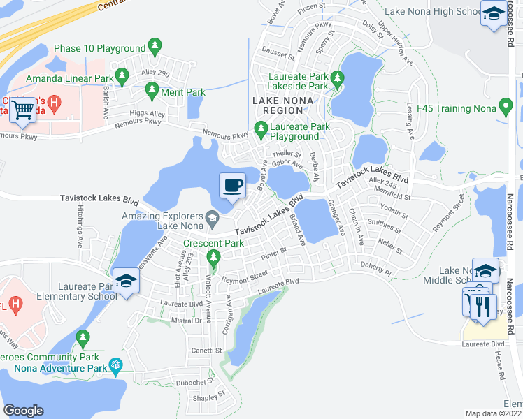 map of restaurants, bars, coffee shops, grocery stores, and more near 8418 Karrer Terrace in Orlando
