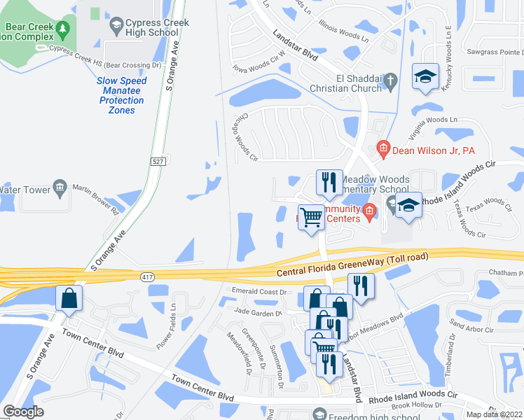 map of restaurants, bars, coffee shops, grocery stores, and more near 525 Pinnacle Cove Boulevard in Orlando