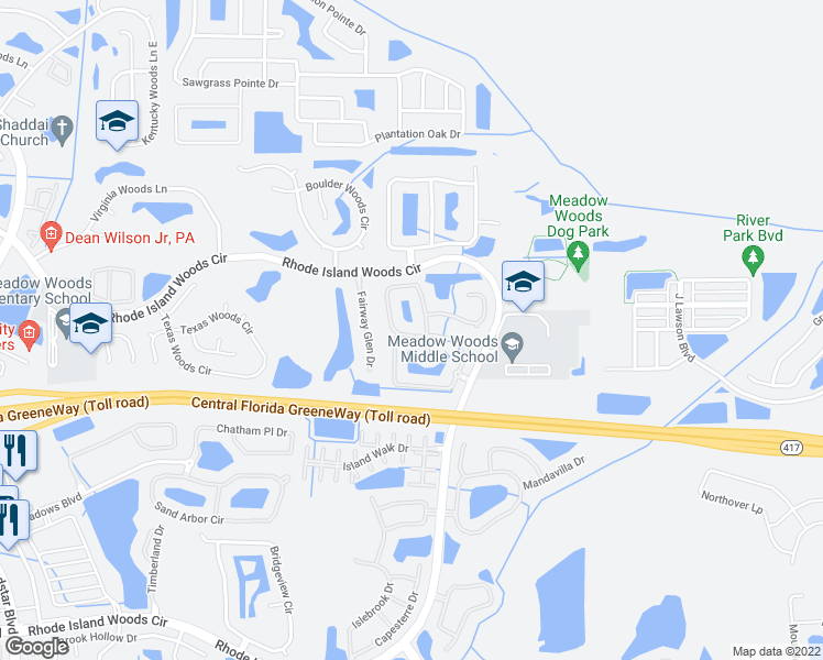 map of restaurants, bars, coffee shops, grocery stores, and more near 1205 Darnaby Way in Orlando