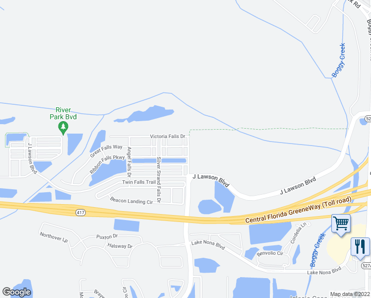 map of restaurants, bars, coffee shops, grocery stores, and more near 2338 Victoria Falls Drive in Orlando