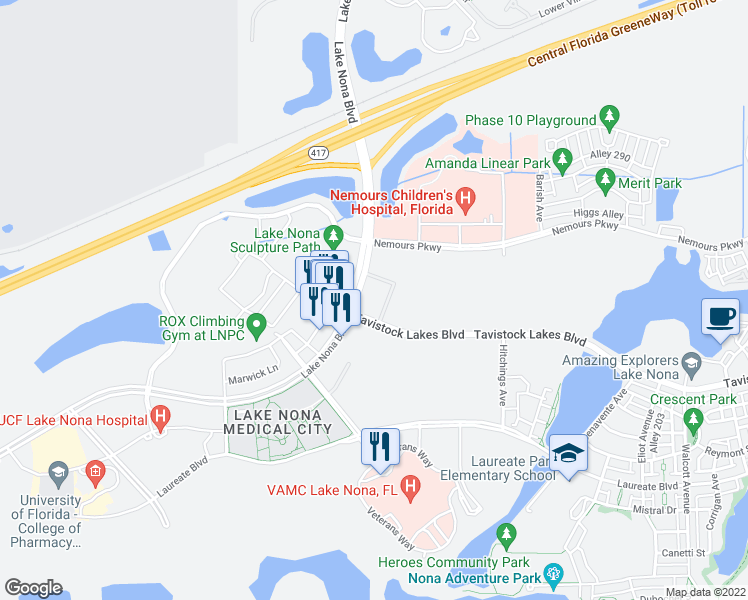 map of restaurants, bars, coffee shops, grocery stores, and more near 7010 Lake Nona Boulevard in Orlando