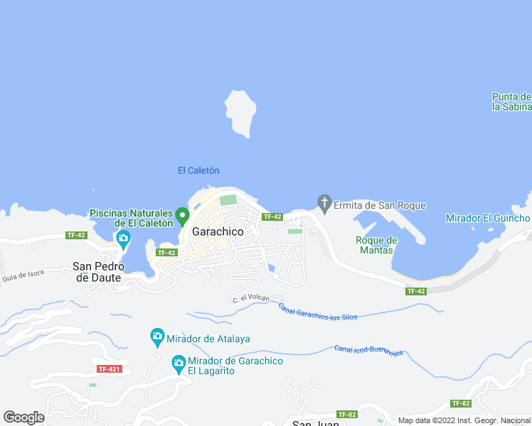 map of restaurants, bars, coffee shops, grocery stores, and more near Avenida Adolfo Suárez in Garachico