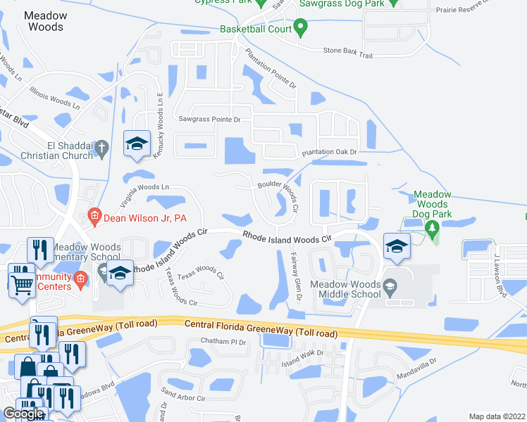 map of restaurants, bars, coffee shops, grocery stores, and more near 13133 Boulder Woods Circle in Orlando