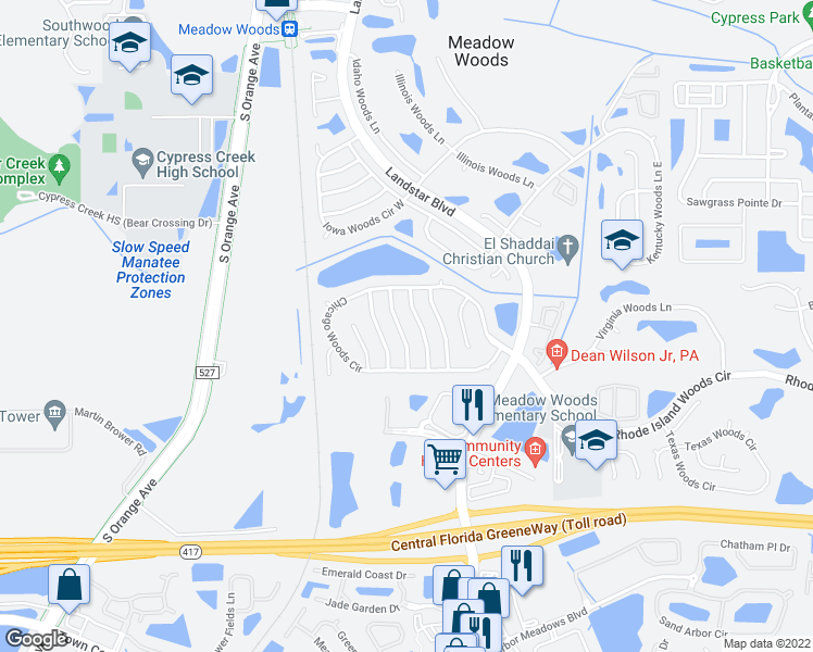 map of restaurants, bars, coffee shops, grocery stores, and more near 13107 Los Angeles Woods Lane in Orlando
