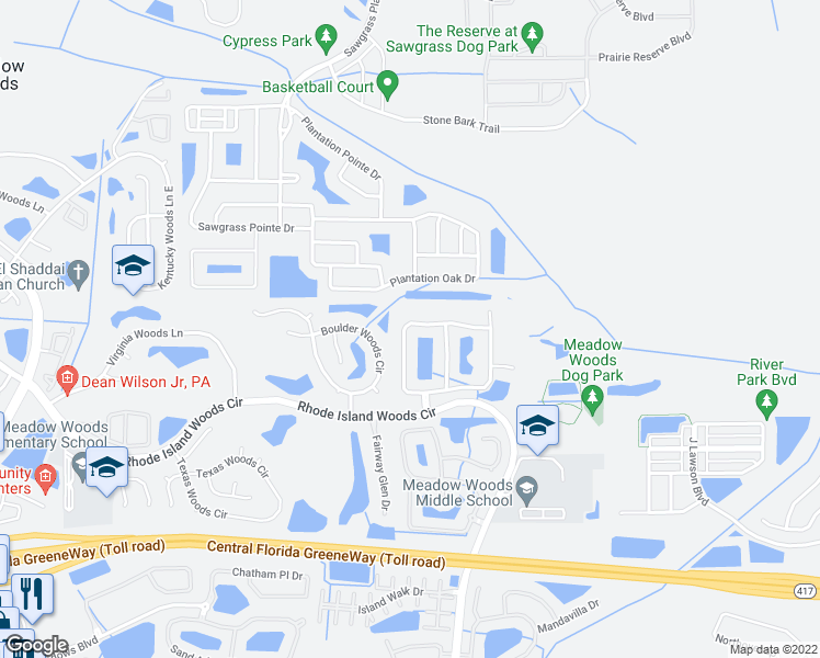 map of restaurants, bars, coffee shops, grocery stores, and more near 1300 Carey Glen Circle in Orlando