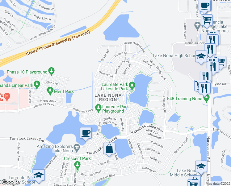 map of restaurants, bars, coffee shops, grocery stores, and more near 8851 Sperry Street in Orlando