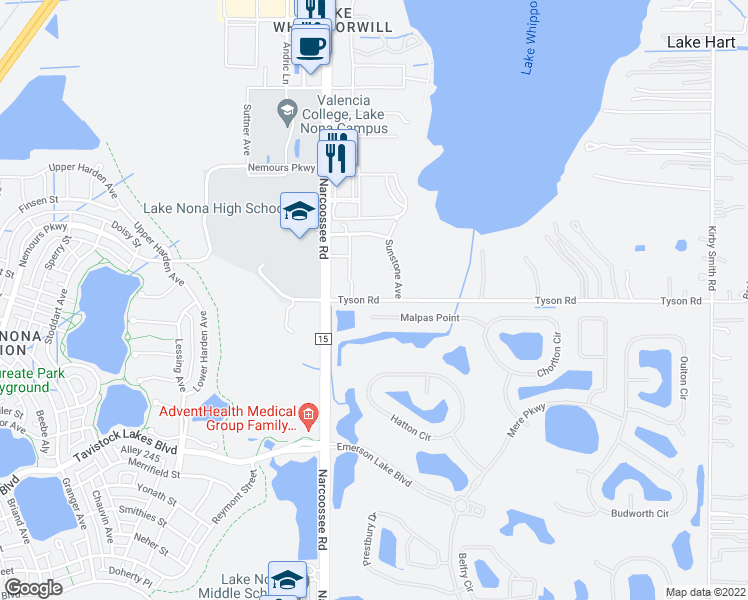 map of restaurants, bars, coffee shops, grocery stores, and more near 21187 Tyson Road in Orlando