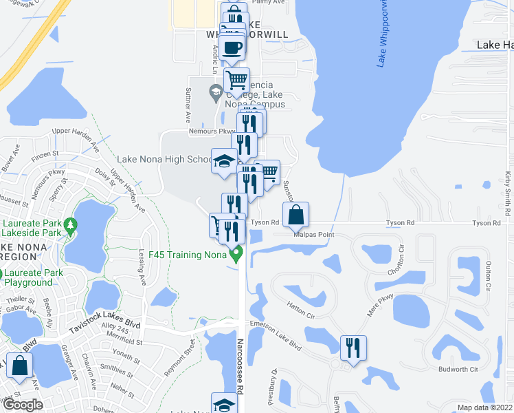 map of restaurants, bars, coffee shops, grocery stores, and more near 12855 Narcoossee Road in Orlando