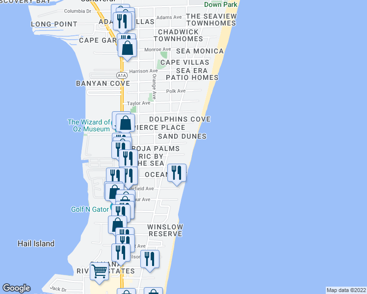 map of restaurants, bars, coffee shops, grocery stores, and more near 430 Johnson Avenue in Cape Canaveral