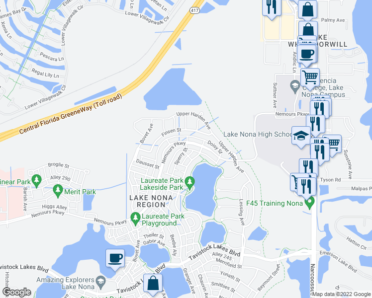 map of restaurants, bars, coffee shops, grocery stores, and more near 9019 Sperry Street in Orlando