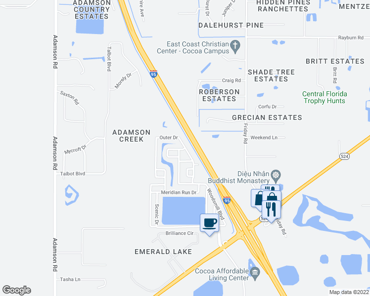 map of restaurants, bars, coffee shops, grocery stores, and more near Outer Drive in Cocoa