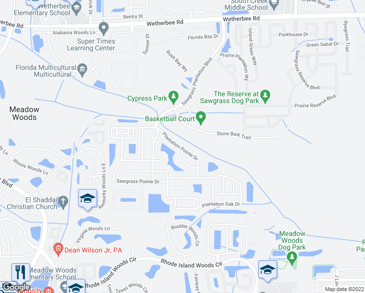 map of restaurants, bars, coffee shops, grocery stores, and more near 1609 Plantation Pointe Drive in Orlando