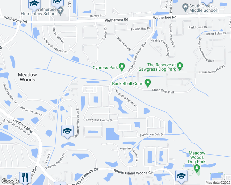 map of restaurants, bars, coffee shops, grocery stores, and more near 1500 Plantation Pointe Drive in Orlando