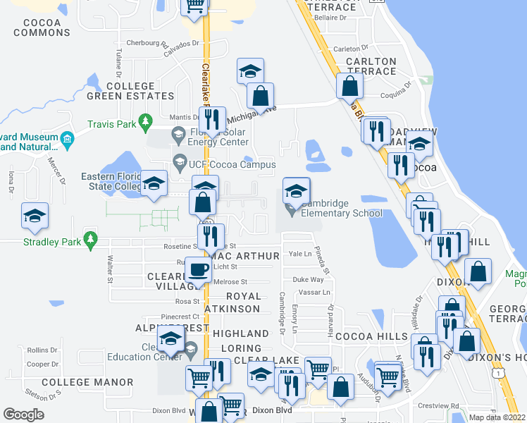 map of restaurants, bars, coffee shops, grocery stores, and more near 1514 Clearlake Road in Cocoa