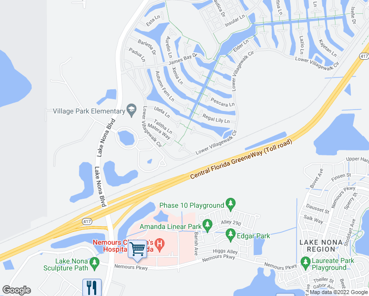 map of restaurants, bars, coffee shops, grocery stores, and more near Tripletail Lane in Orlando