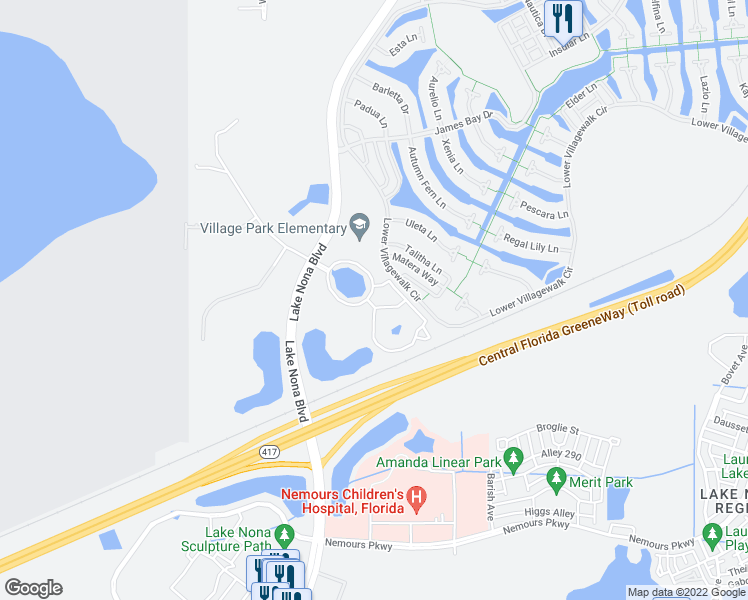map of restaurants, bars, coffee shops, grocery stores, and more near 7782 Lower Gateway Loop in Orlando