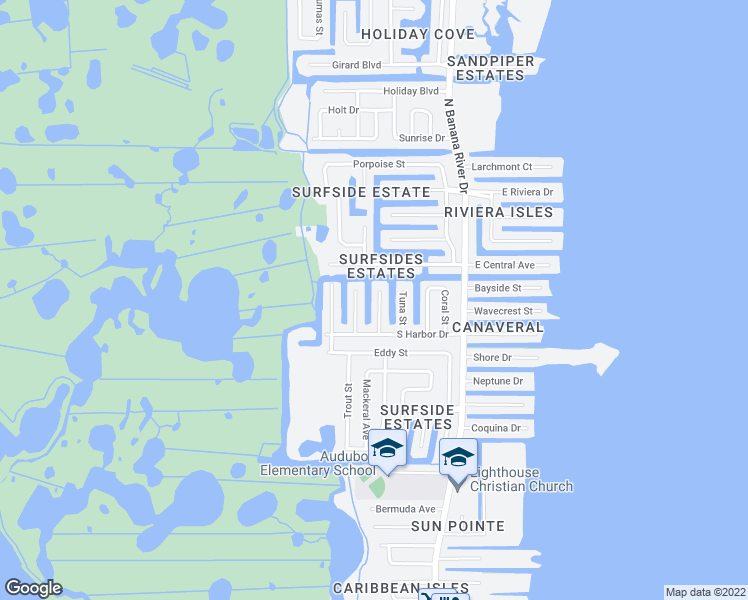 map of restaurants, bars, coffee shops, grocery stores, and more near 1565 Salmon Street in Merritt Island