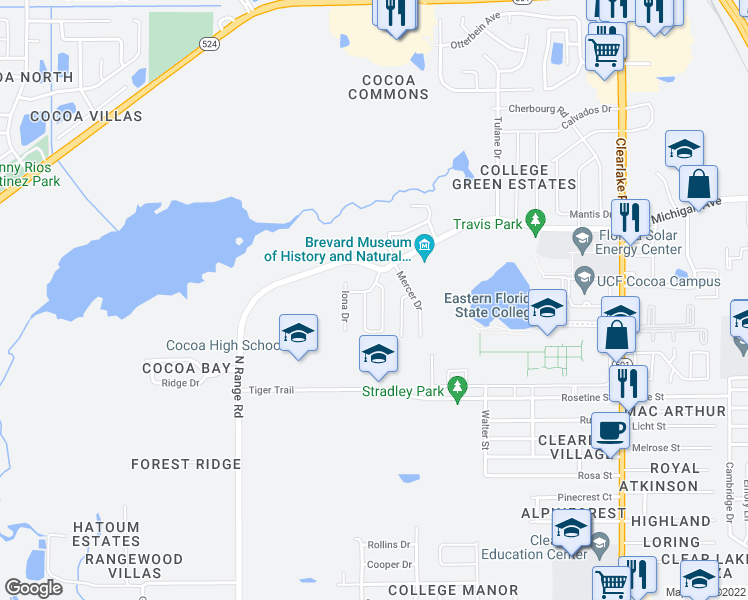 map of restaurants, bars, coffee shops, grocery stores, and more near 2228 Salem Drive in Cocoa