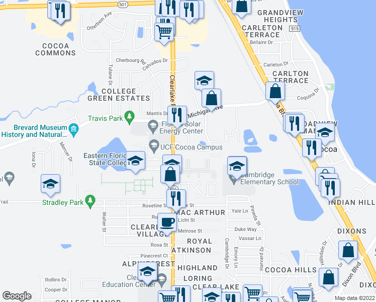 map of restaurants, bars, coffee shops, grocery stores, and more near 1558 University Lane in Cocoa