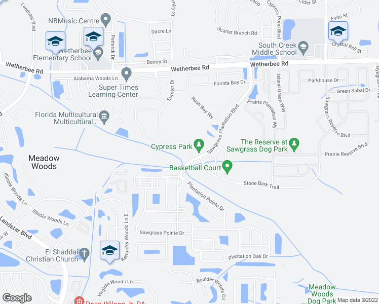 map of restaurants, bars, coffee shops, grocery stores, and more near 12408 Sawgrass Plantation Boulevard in Orlando