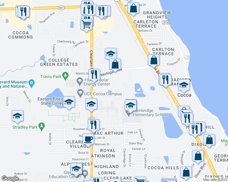 map of restaurants, bars, coffee shops, grocery stores, and more near 1704 University Lane in Cocoa