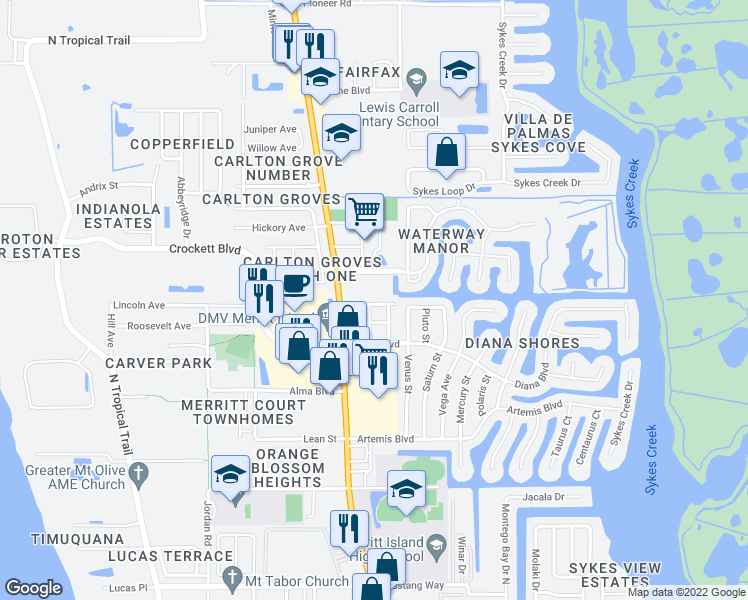 map of restaurants, bars, coffee shops, grocery stores, and more near 40 Bogart Place in Merritt Island