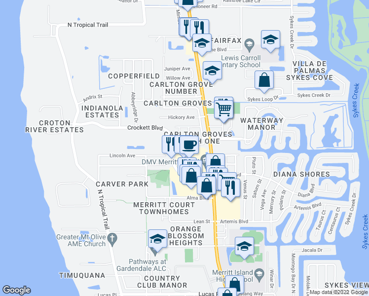 map of restaurants, bars, coffee shops, grocery stores, and more near 235 Ash Drive in Merritt Island
