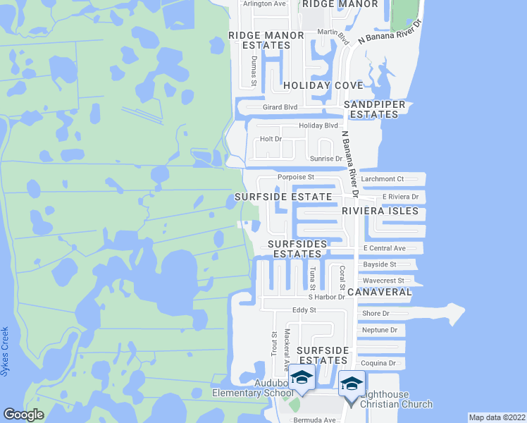 map of restaurants, bars, coffee shops, grocery stores, and more near 2150 Porpoise Street in Merritt Island