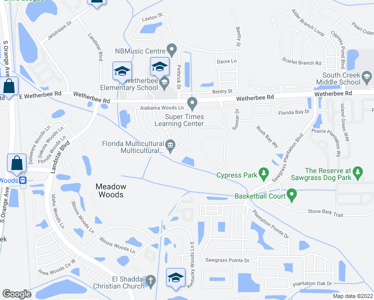 map of restaurants, bars, coffee shops, grocery stores, and more near Conneticut Woods Court in Orlando