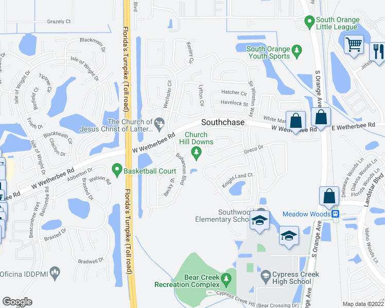 map of restaurants, bars, coffee shops, grocery stores, and more near 12540 Bohannon Boulevard in Orlando
