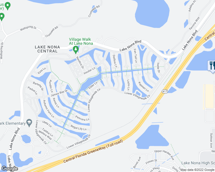 map of restaurants, bars, coffee shops, grocery stores, and more near 12072 Navale Lane in Orlando