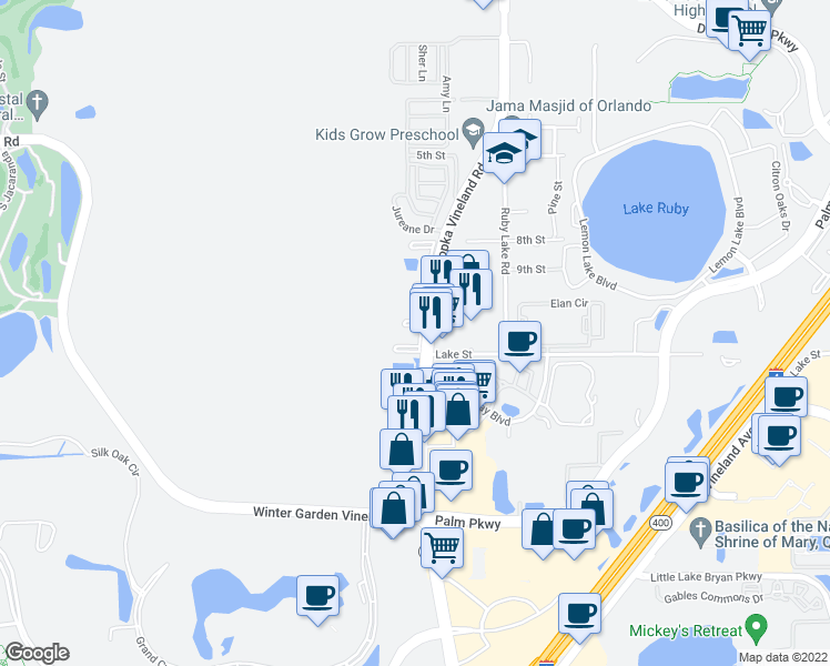 map of restaurants, bars, coffee shops, grocery stores, and more near 11856 Reedy Creek Drive in Orlando