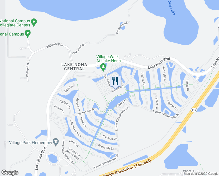 map of restaurants, bars, coffee shops, grocery stores, and more near 11934 Nautica Drive in Orlando