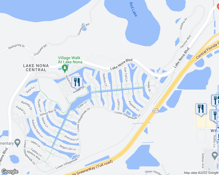 map of restaurants, bars, coffee shops, grocery stores, and more near 11929 Delfina Lane in Orlando