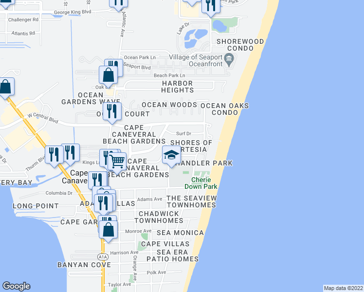 map of restaurants, bars, coffee shops, grocery stores, and more near 8544 Elbow Key Court in Cape Canaveral