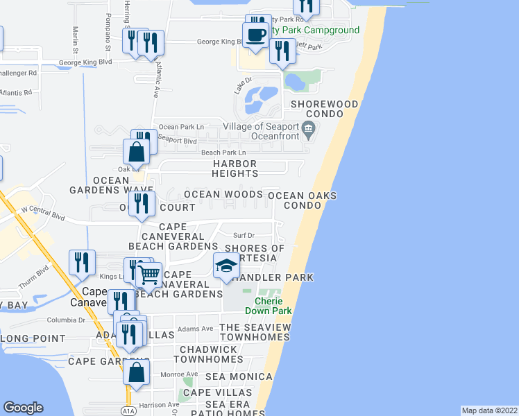 map of restaurants, bars, coffee shops, grocery stores, and more near 8706 Jasmine Court in Cape Canaveral