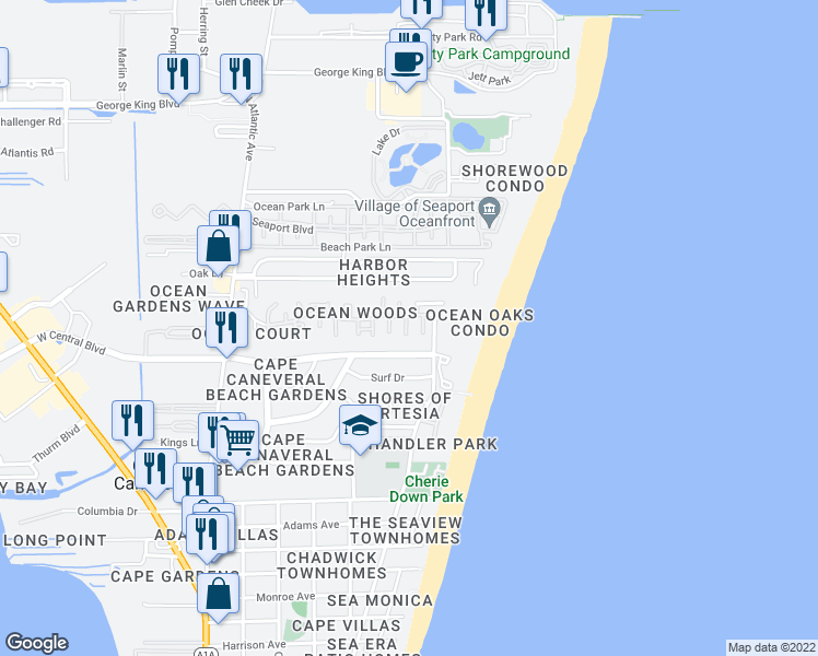 map of restaurants, bars, coffee shops, grocery stores, and more near 8716 Jasmine Court in Cape Canaveral