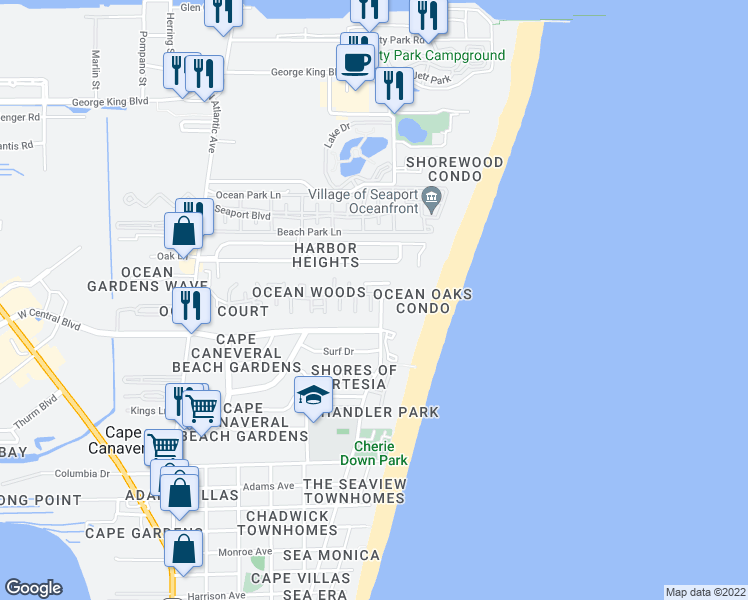 map of restaurants, bars, coffee shops, grocery stores, and more near 8718 Bay Court in Cape Canaveral