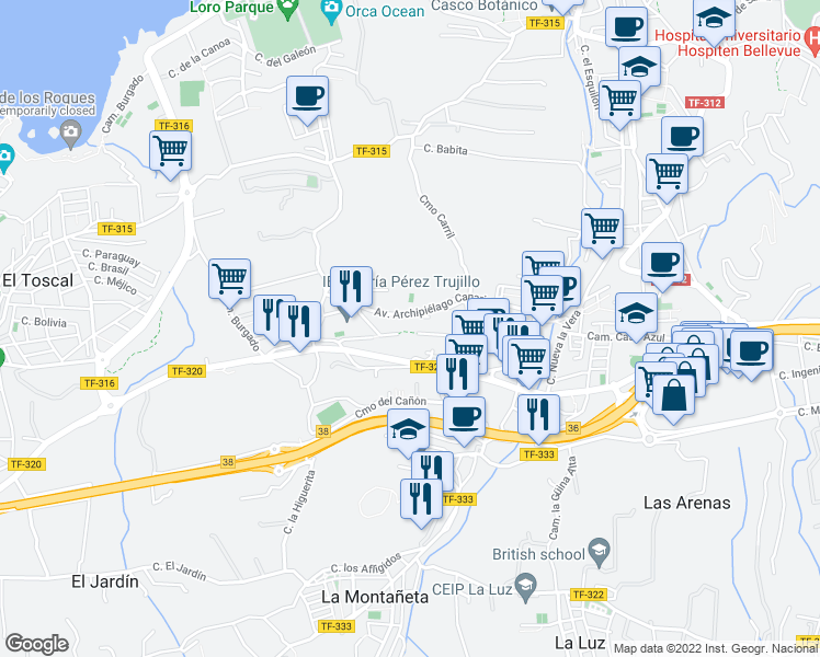 map of restaurants, bars, coffee shops, grocery stores, and more near 12 Calle Rosa Diaz Fragoso in Puerto de la Cruz