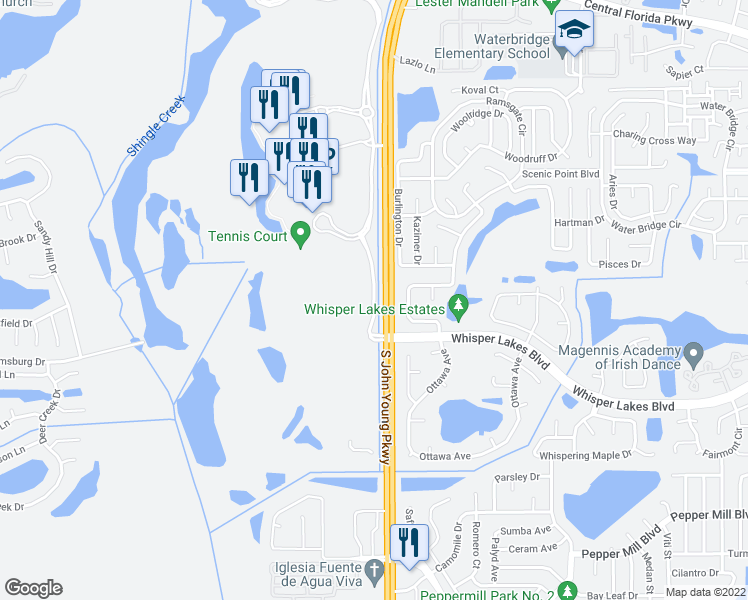 map of restaurants, bars, coffee shops, grocery stores, and more near Lakeshore Reserve Drive in Orlando