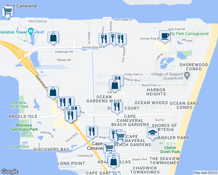 map of restaurants, bars, coffee shops, grocery stores, and more near 127 Anchorage Avenue in Cape Canaveral