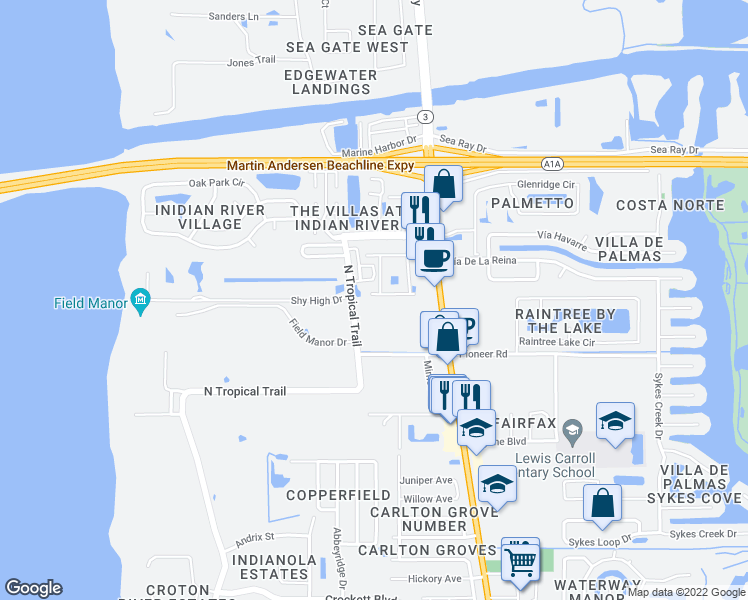 map of restaurants, bars, coffee shops, grocery stores, and more near 265 Spring Drive in Merritt Island