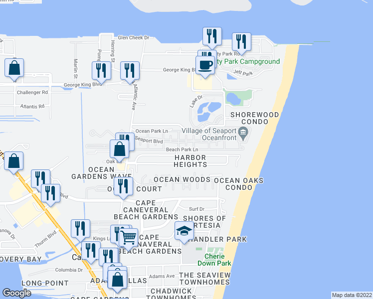 map of restaurants, bars, coffee shops, grocery stores, and more near 406 Beach Park Lane in Cape Canaveral