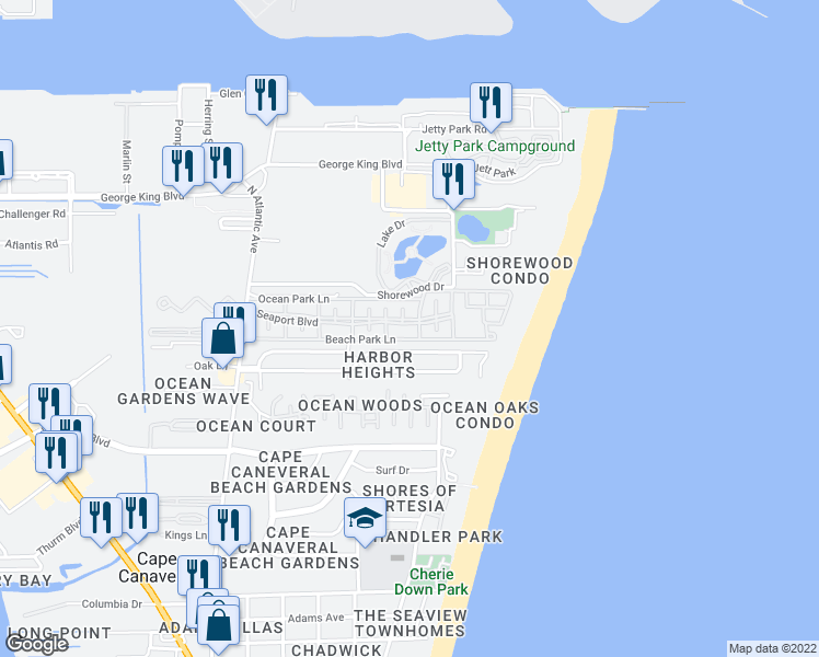 map of restaurants, bars, coffee shops, grocery stores, and more near 641 Seaport Boulevard in Cape Canaveral