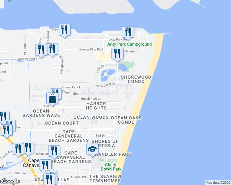 map of restaurants, bars, coffee shops, grocery stores, and more near 550 Seaport Boulevard in Cape Canaveral
