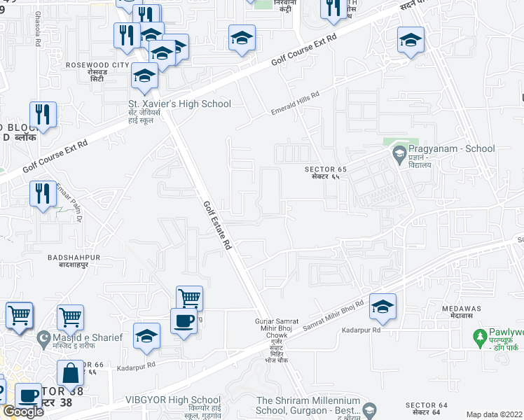 map of restaurants, bars, coffee shops, grocery stores, and more near Golf Course Extension Road in Gurugram
