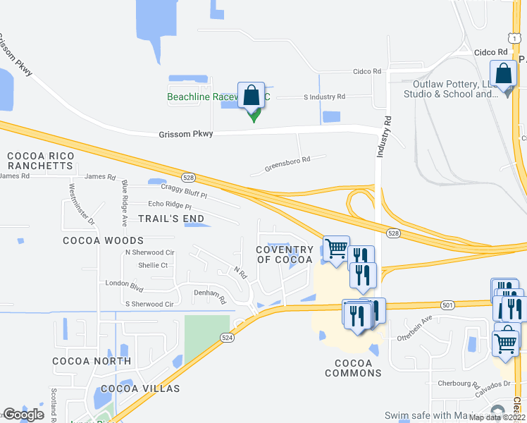 map of restaurants, bars, coffee shops, grocery stores, and more near 3164 Dunhill Dr in Cocoa